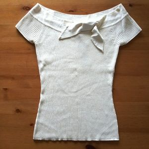 Ribbed Boat Neck Lightweight Bow Silk Top Small